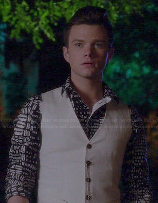 Kurt's black and white printed shirt on Glee