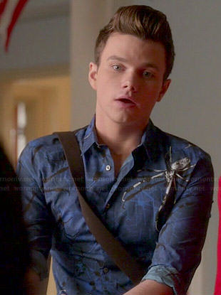 Kurt's blue spider print shirt on Glee