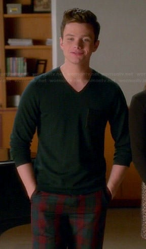 Kurt's green v-neck sweater with leather pocket on Glee