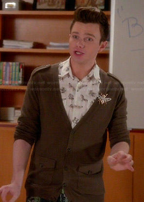 Kurt's white moth print shirt and army green cardigan on Glee