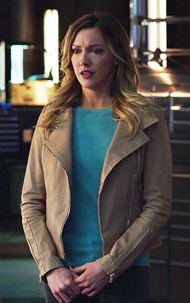 Laurel's beige leather jacket on Arrow