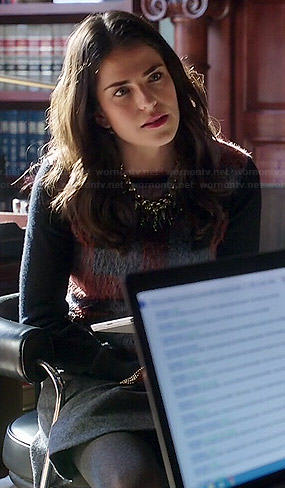Laurel's fluffy plaid front sweater on How to Get Away with Murder