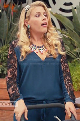 Laurie's blue jumpsuit with lace sleeves on Cougar Town
