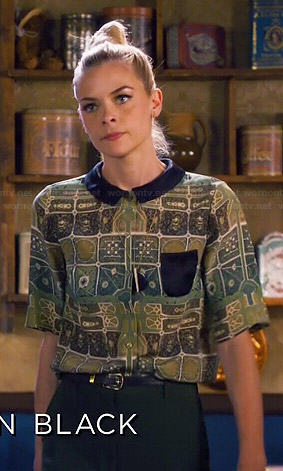 Lemon's green printed top with black collar on Hart of Dixie