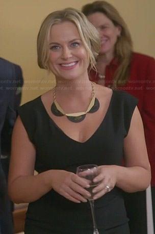Leslie's black v-neck dress on Parks and Recreation