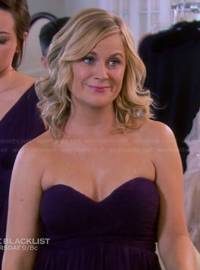 Leslie's purple strapless bridesmaid dress on Parks and Recreation