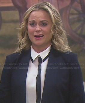 Leslie's white shirt with black trim on Parks and Recreation