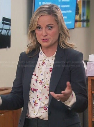 Leslie's white floral blouse on Parks and Recreation