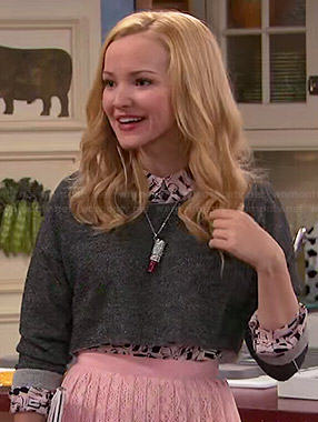 Liv's nail polish print shirt, grey cropped sweater and pink pleated lace skirt on Liv and Maddie