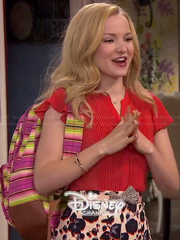 Liv's red pintucked blouse and floral skirt on Liv and Maddie