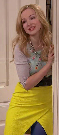 Liv's yellow textured wrap skirt and floral top on Liv and Maddie