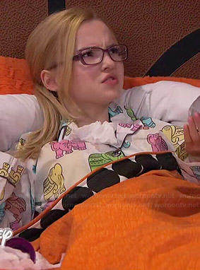 Maddie's elephant print pajamas on Liv and Maddie