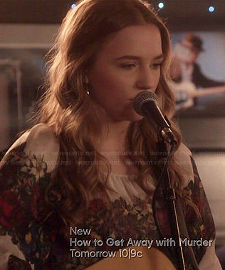 Maddie's floral peasant blouse on Nashville