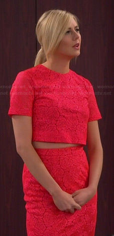 Maddie's neon pink lace crop top and pencil skirt on Cristela