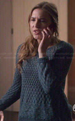 Maddie's teal textured sweater on Nashville