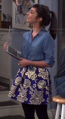 Mandy's denim shirt and blue rose print skirt on Last Man Standing