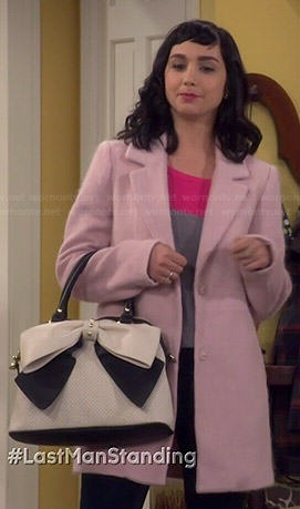 Mandy's pink coat and two tone bow bag on Last Man Standing