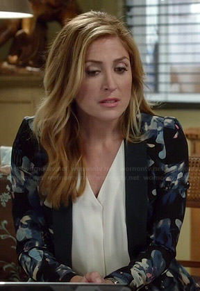 Maura's black and blue floral print peplum blazer on Rizzoli and Isles