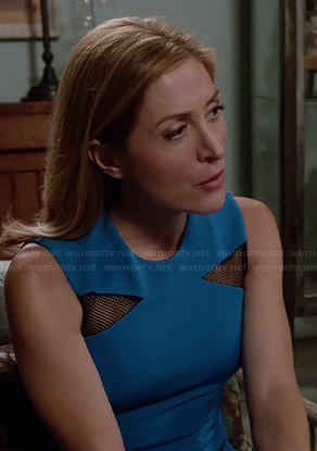 Maura's blue triangle mesh inset dress on Rizzoli and Isles