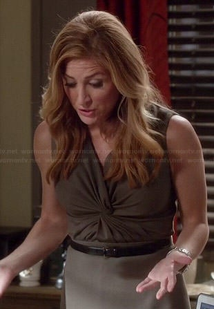 Maura's olive green twist front dress on Rizzoli and Isles
