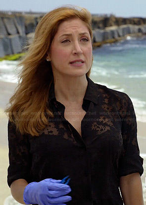 Maura's sheer black floral blouse on Rizzoli and Isles
