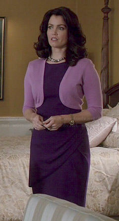 Mellie's purple draped dress and lilac shrug on Scandal