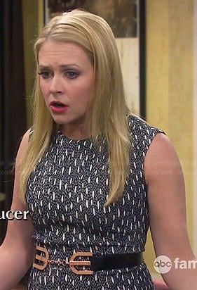 Mel's black and white printed drop-waist dress on Melissa and Joey