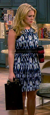 Mel's blue ikat print dress on Melissa and Joey
