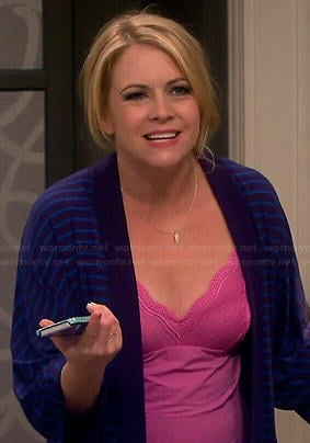 Mel's pink chemise and blue striped robe on Melissa and Joey