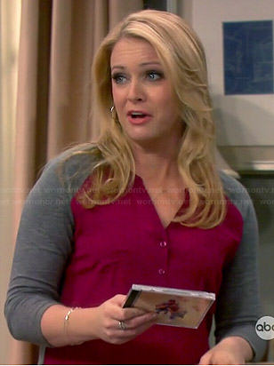 Mel's pink and grey button front top on Melissa and Joey