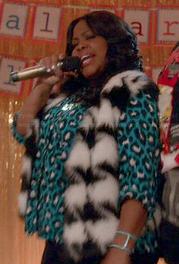 Mercedes's blue leopard print top and fur houndstooth vest on Glee
