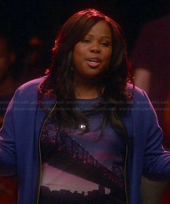 Mercedes's Brooklyn bridge graphic top on Glee
