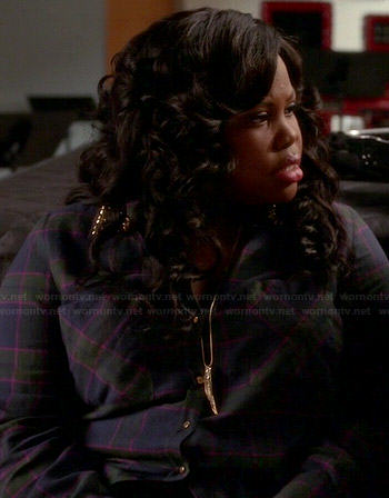 Mercedes's checked shirt with studded collar on Glee