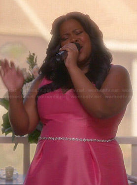 Mercedes's pink bridesmaid dress on Glee