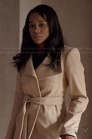 Michaela's camel belted coat on How to Get Away with Murder
