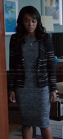 Michaela's marled knee length dress and black striped jacket on How to Get Away with Murder