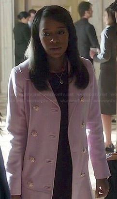 Michaela's light pink coat on How to Get Away with Murder