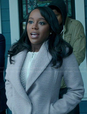 Michaela's pink asymmetric jacket on How to Get Away with Murder