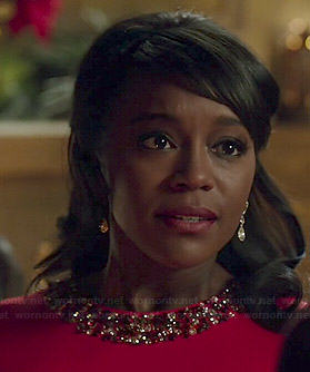 Michaela's red beaded neck dress on How to Get Away with Murder