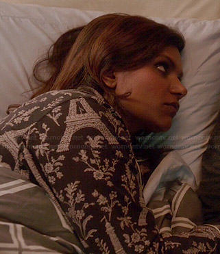 Mindy's black Eiffel Tower print pajamas on The Mindy Project