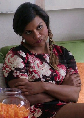 Mindy's black and red floral dress on The Mindy Project