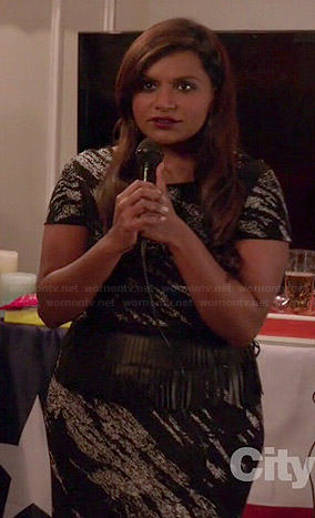Mindy's black printed short sleeve dress on The Mindy Project