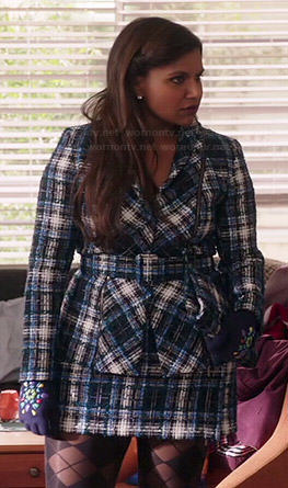 Mindy's blue tweed jacket and skirt suit on The Mindy Project