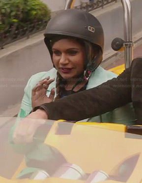 Mindy's green ombre jacket and blue dotted sweater on The Mindy Project