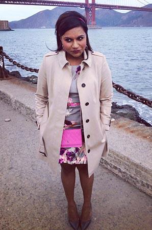 Mindy's grey floral dress and trench coat on The Mindy Project