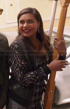 Mindy's grey houndstooth dress and black lace sleeved jacket on The Mindy Project