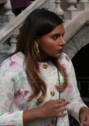 Mindy's pastel floral coat on The Mindy Project