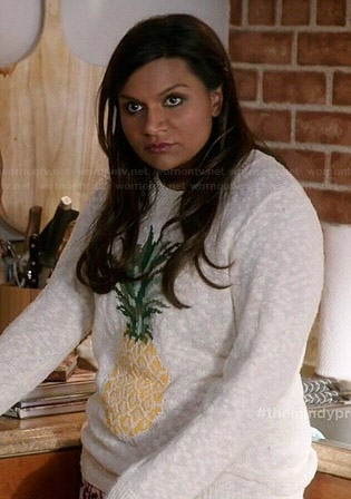 Mindy's pineapple sweater on The Mindy Project