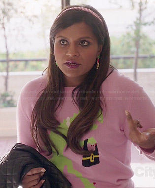 Mindy's navy jewelled coat and mountain graphic top and skirt on The Mindy Project