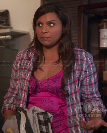 Mindy's grey and pink plaid shirt and pink chemise on The Mindy Project
